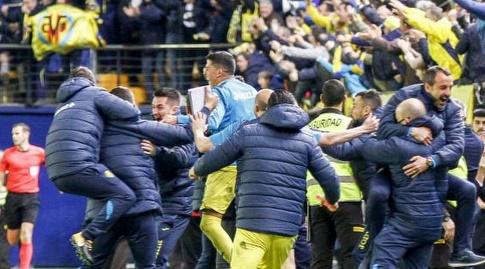 החגיגות המטורפות של שחקני ויאריאל אחרי השני של אונאל (La Liga)