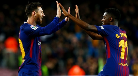 מסי ודמבלה חוגגים (La Liga)