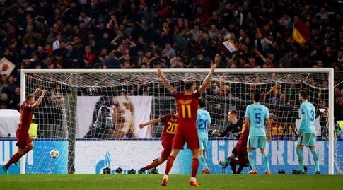 שחקני רומא חוגגים, שחקני ברצלונה בהלם (רויטרס)