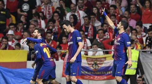 סוארס חוגג עם החברים (La Liga)