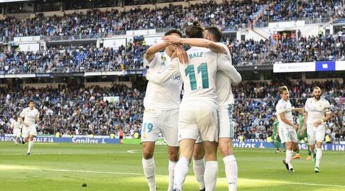 שחקני ריאל מדריד חוגגים עם גארת' בייל (La Liga)
