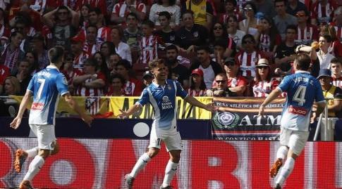 שחקני אספניול חוגגים לאחר השער (La Liga)