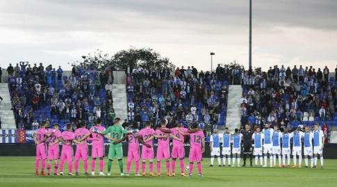 שחקני שתי הקבוצות בפתיחה (La Liga)