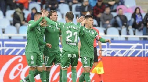 שחקני סוסיאדד חוגגים את השני (La Liga)