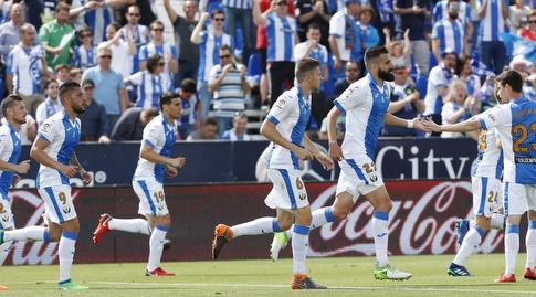 שחקני לגנאס חוגגים (La Liga)