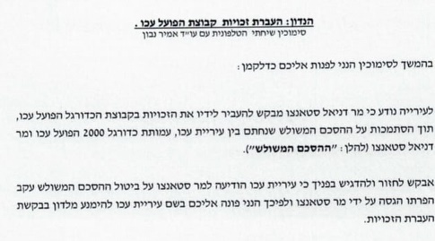 המכתב של עיריית עכו למנהלת הליגה (מערכת ONE)