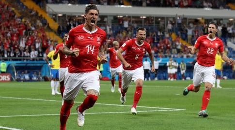 סטיבן צובר חוגג את השוויון מול ברזיל (רויטרס)