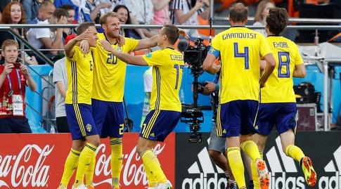 שחקני נבחרת שבדיה. גם את עצמם הם הפתיעו (רויטרס)