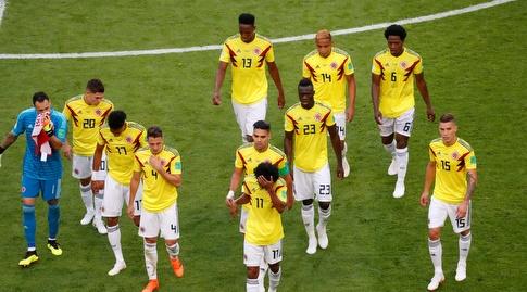 שחקני קולומביה בירידה להפסקה. מחצית רעה (רויטרס)