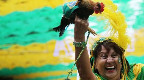 אוהדת ברזיל חוגגת. אבל מה קשור התרנגול של בני יהודה? (רויטרס)