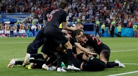 נבחרת קרואטיה חוגגת (רויטרס)