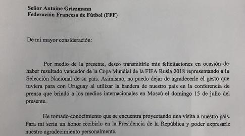 האיגרת של נשיא אורוגוואי לגריזמן (מערכת ONE)