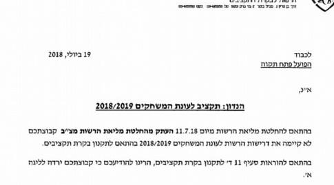 """המכתב של ההתאחדות להפועל פ""""ת"""
