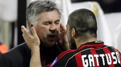 קרלו אנצ'לוטי וג'נארו גאטוסו בימיו כמאמן מילאן (רויטרס)