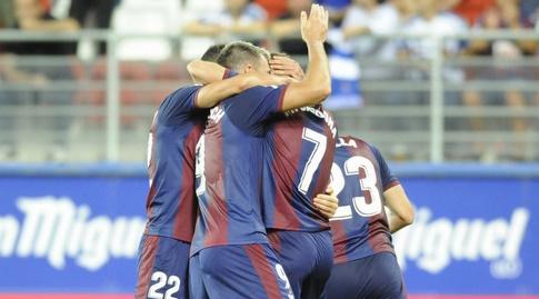שחקני אייבר חוגגים את הניצחון על סוסיאדד (La Liga)