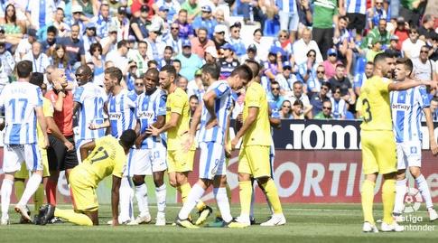 שחקני ויאריאל ולגאנס מתווכחים (La Liga)