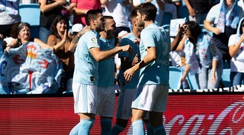 שחקני סלטה ויגו חוגגים (La Liga)