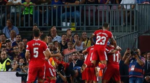 שחקני ג'ירונה חוגגים (La Liga)