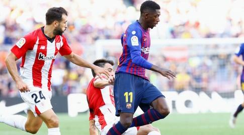 אוסמן דמבלה בורח עם הכדור (La Liga)