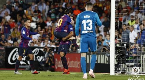לואיס סוארס וליאו מסי חוגגים (La Liga)