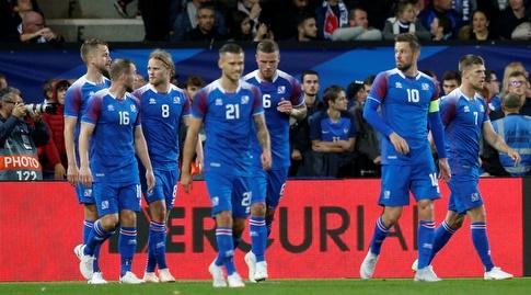 שחקני איסלנד חוגגים (רויטרס)