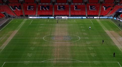 הדשא באצטדיון וומבלי. המגרש במצב לא אופטימלי (רויטרס)