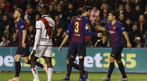 לואיס סוארס וג'רארד פיקה חוגגים (La Liga)