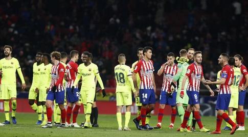 שחקני ברצלונה ואתלטיקו מדריד בסיום (La Liga)