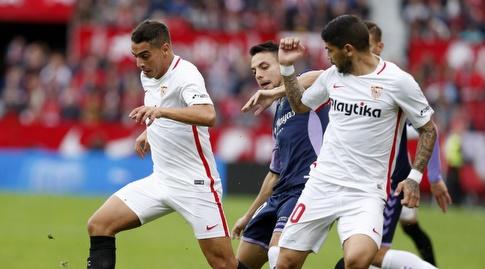 אבר באנגה ו-וויסאם בן ידר מנסים לשמור על הכדור (La Liga)