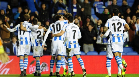 שחקני ריאל סוסיאדד חוגגים (La Liga)