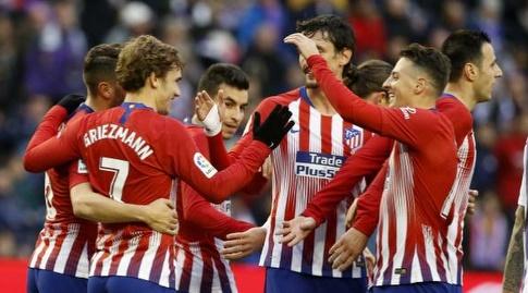 שחקני אתלטיקו מדריד חוגגים (La Liga)