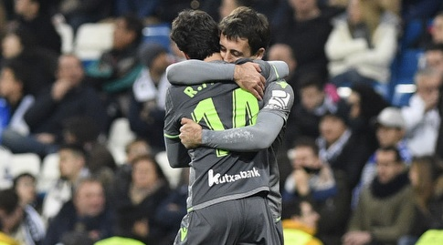 מיקל אויארסבאל ורובן פארדו חוגגים (La Liga)