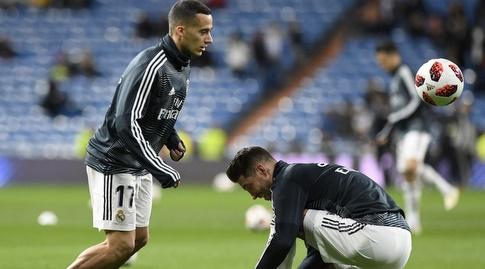 סרחיו ראמוס וקאסמירו בחימום (La Liga)