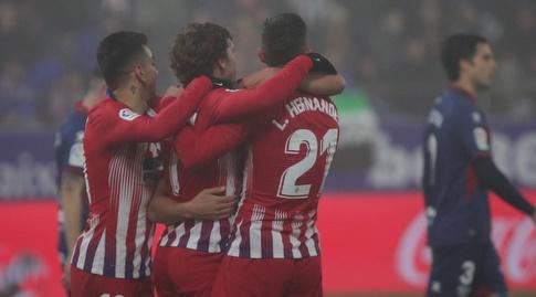 לוקאס הרננדס, אנטואן גריזמן ואנחל קוראה חוגגים (La Liga)