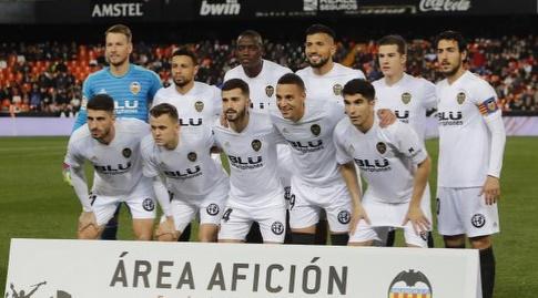 שחקני ולנסיה טרם המשחק (La Liga)