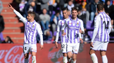 שחקני ויאדוליד חוגגים עם קקו (La Liga)