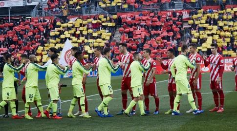 שחקני ברצלונה וג'ירונה לפני המשחק (La Liga)