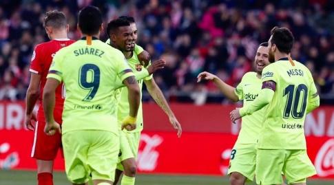 שחקני ברצלונה חוגגים עם נלסון סמדו (La Liga)