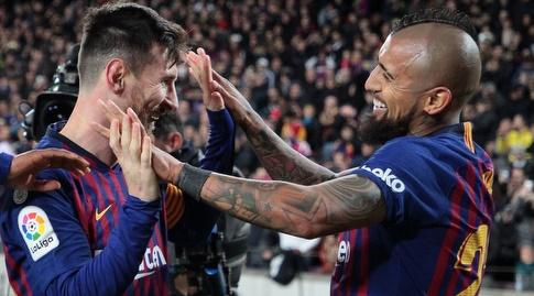 ארתורו וידאל וליאו מסי חוגגים (La Liga)
