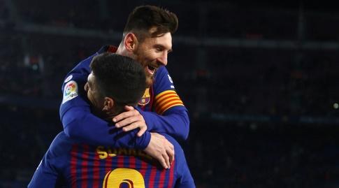 ליאו מסי מחבק את לואיס סוארס (La Liga)