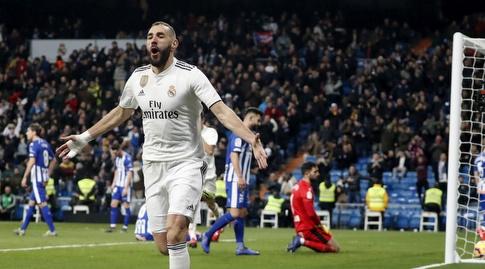 קארים בנזמה חוגג. לא התאמן, אך צפוי להיות כשיר בזמן (La Liga)