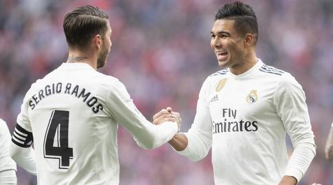 קאסמירו חוגג עם סרחיו ראמוס (La Liga)