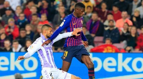 חואקין פרננדס מנסה לעצור את אוסמן דמבלה (La Liga)