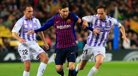 מיצ'ל ונאצ'ו מרטינס מנסים לעצור את ליאו מסי (La Liga)