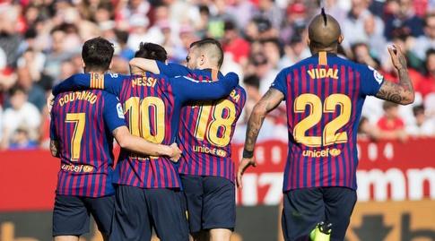 וידאל, אלבה, מסי וקוטיניו חוגגים (La Liga)