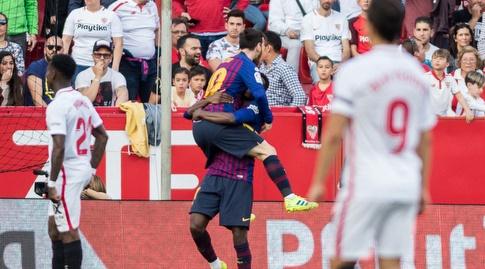 אוסמן דמבלה חוגג עם ליאו מסי (La Liga)