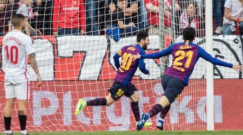 ליאו מסי וקרלס אלנייה חוגגים (La Liga)
