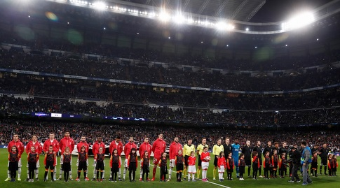 שחקני ריאל מדריד ואייאקס לפני המשחק (רויטרס)