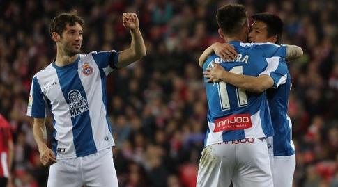לי וו, פקונדו פריירה ואסטבן גראנרו חוגגים (La Liga)