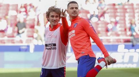 ויטולו עם אנטואן גריזמן בחימום (La Liga)